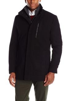 London Fog Men's Wool Car Coat With Bib  L