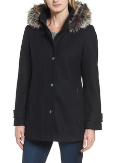 London Fog Peacoat with Faux Fur Trim