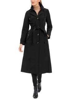 London Fog Petite Double-Breasted Maxi Raincoat