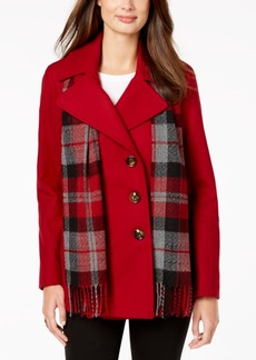 London Fog Petite Double-Breasted Peacoat & Scarf