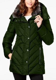 London Fog Petite Faux-Fur-Collar Puffer Coat