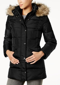 London Fog Faux-Fur-Trim Down Coat
