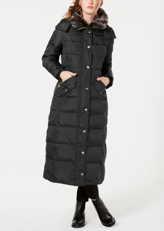 London Fog Petite Faux-Fur-Trim Hooded Maxi Down Coat