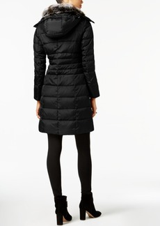 London Fog Petite Faux-Fur-Trimmed Down Puffer Coat