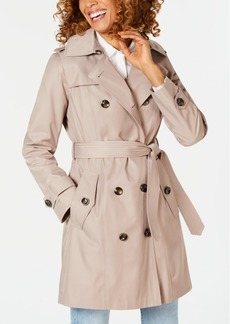 London Fog Petite Hooded Double-Breasted Trench Coat