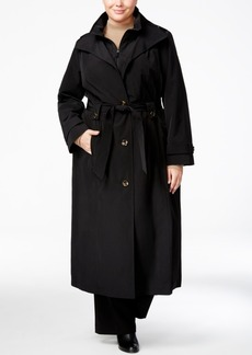 London Fog Plus Size Belted Maxi Raincoat
