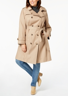 London Fog Plus Size Double-Breasted Hooded Trench Coat