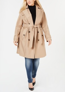 London Fog Plus Size Double-Breasted Trench Coat
