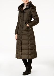 London Fog Petite Faux-Fur-Trimmed Hooded Maxi Puffer Coat