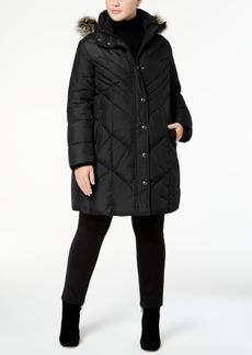London Fog Plus Size Faux-Fur-Trim Down Puffer Coat