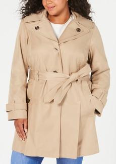 London Fog Plus Size Hooded Belted Raincoat