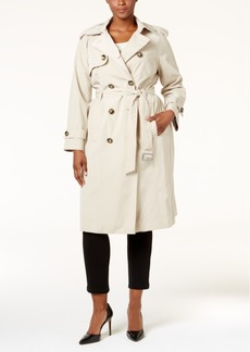 London Fog Plus Size Hooded Long Trench Coat