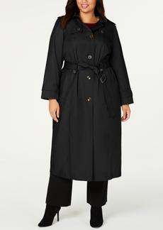 London Fog Plus Size Hooded Maxi Raincoat