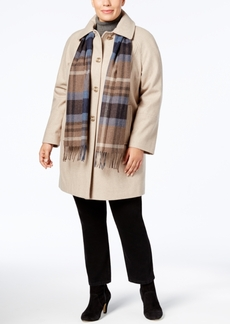 London Fog Plus Size Walker Coat with Scarf