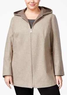 London Fog Plus Size Wool-Blend Hooded Walker Coat