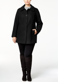 London Fog Plus Size Wool-Blend Peacoat