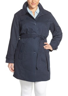 London Fog Polka Dot Single Breasted Trench Coat (Plus Size)