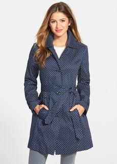 London Fog Polka Dot Single Breasted Trench Coat (Regular & Petite)