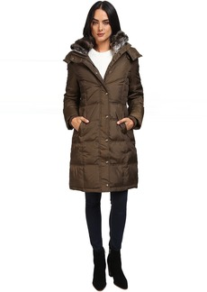 London Fog Quiled Puffer with Fur Collar