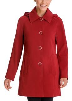 London Fog Single-Breasted Hooded Raincoat