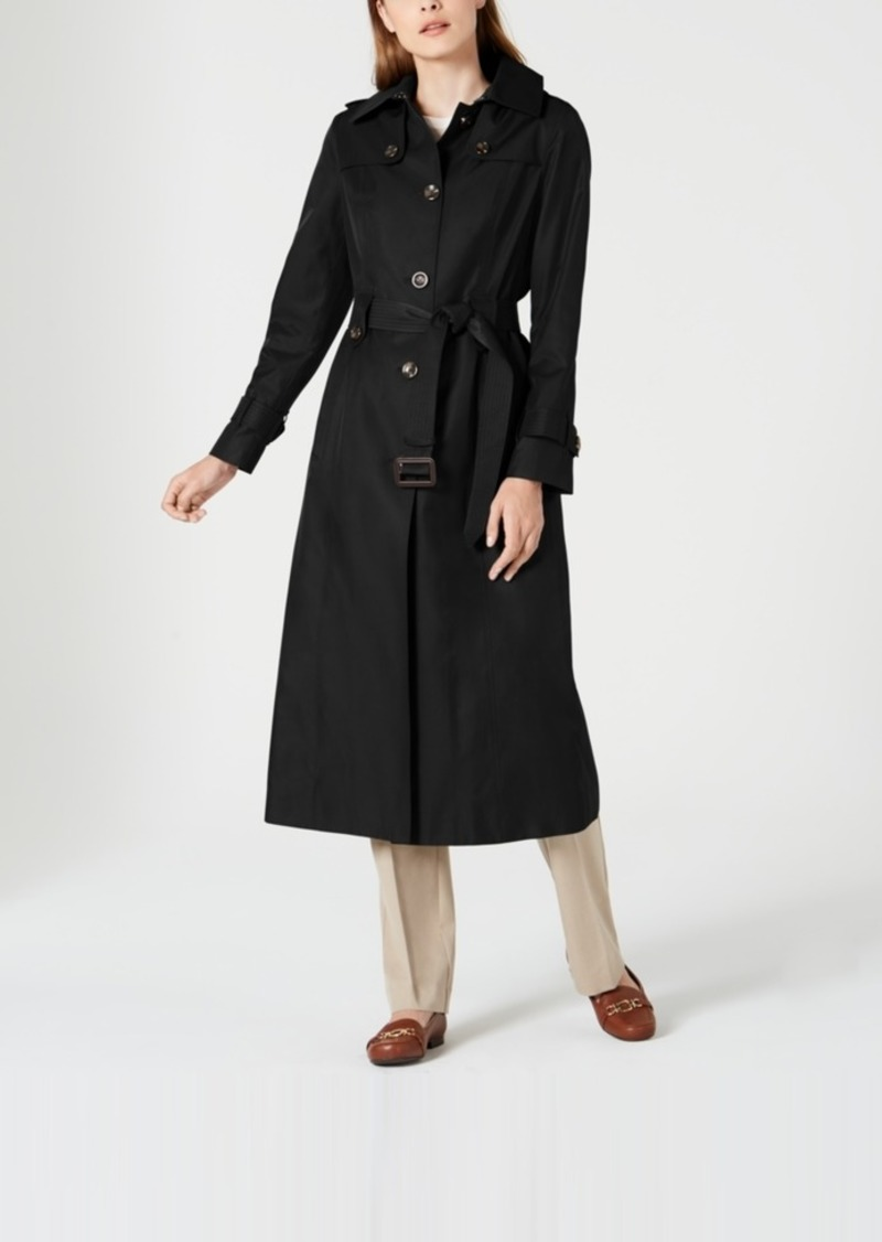London Fog Single-Breasted Water-Resistant Hooded Raincoat
