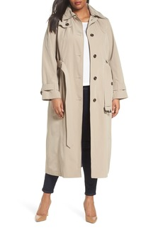 London Fog Water Resistant Hooded Trench Coat (Plus Size)