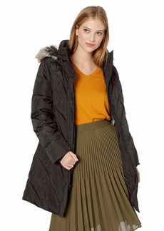 """LONDON FOG Women's 36"""" Snap Front Down Coat with Multi Pattern Quilt and Hood  XL"""