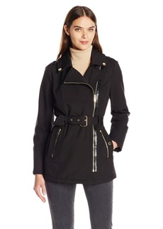 London Fog Women's Asymetrical Softshell with Belt  M