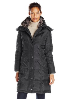 London Fog Women's Chevron Coat with Faux Fur Trimmed Hood