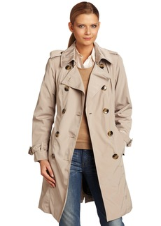 London Fog Women's Double Breasted Rain Trench With Zip and Out liner