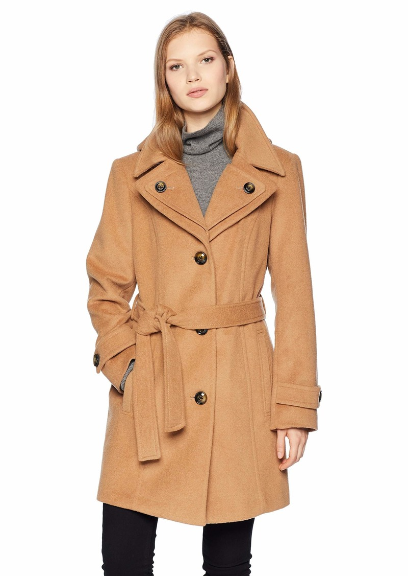 London Fog Women's Double Lapel Thigh Length Button FrontWool Coat with Belt  L