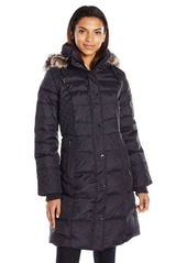 London Fog Women's Flynn Quilted Long Down Coat with Faux Fur Trimmed Detachable Hood -  -