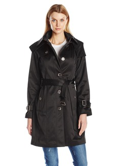 London Fog Women's Heritage Belted Single Breasted Trench with Shoulder Flaps