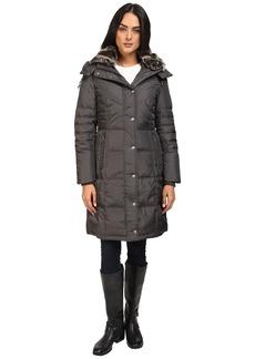 London Fog Women's Hooded Down Coat with Faux Fur Collar  XL