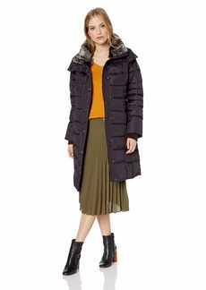 London Fog Women's Horizontal Quilt Snap Front Down Coat Faux Fur Collar BlackBerry XS