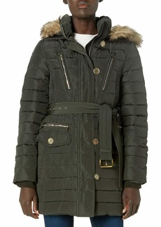 LONDON FOG Women's Luxurious Belted Down Coat with Removable Hood  L