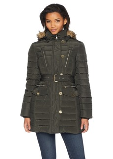 London Fog Women's Luxurious Belted Down Coat with Removable Hood  S