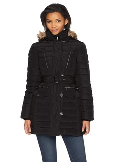 LONDON FOG Women's Luxurious Belted Down Coat with Removable Hood  XL