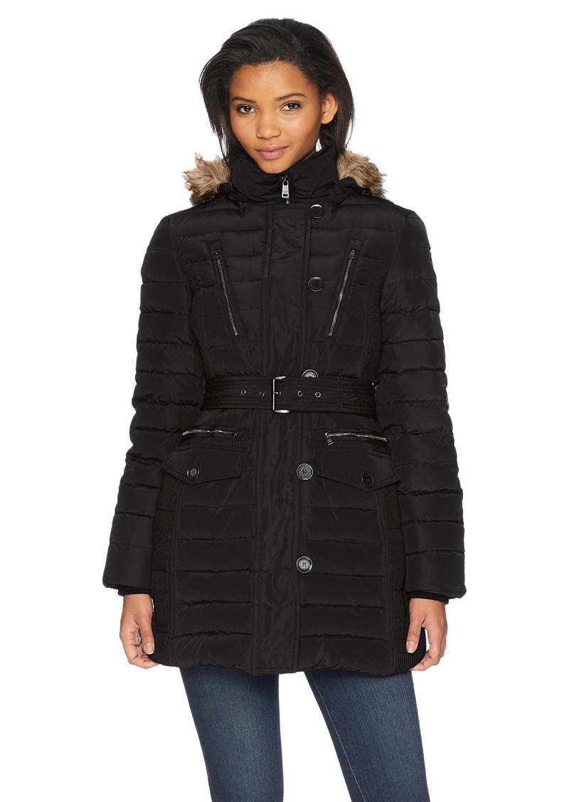 London Fog Women's Luxurious Belted Down Coat with Removable Hood  XS