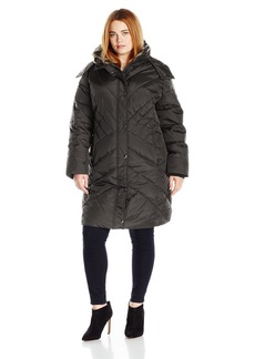 London Fog Women's Plus Size 36 In Down Coat Hooded With Faux Fur Collar