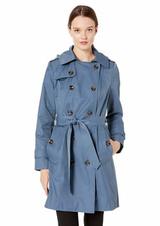 """LONDON FOG Women's Plus Size 36"""" Length Double-Breasted Trench Coat with Belt"""