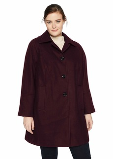LONDON FOG Women's Plus Size Raglan Button Front Wool Coat with Scarf