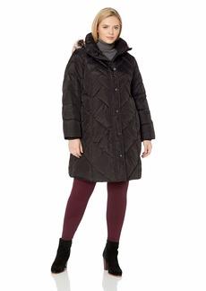 LONDON FOG Women's Plus Size Snap Front Hooded Multi Pattern Quilt Down Coat