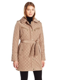 London Fog Women's Snap Front Quilted Coat with Belted Tie  M