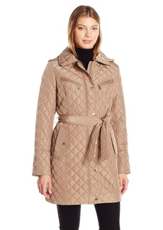 London Fog Women's Snap Front Quilted Coat With Belted Tie  S
