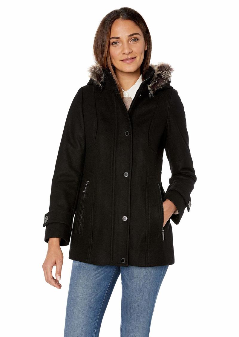 London Fog Women's Snap Front Short Wool Coat with Faux Fur Trim Hood  L
