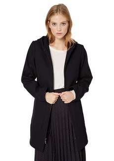 LONDON FOG Women's Zip Front Patch Pocket Thigh Length Wool Coat with Hood  S