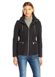 London Fog Women's Zip Front Quilt Jacket with Hood  M
