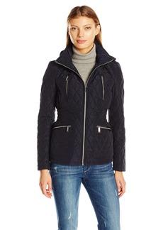 London Fog Women's Zip Front Quilt Jacket with Hood  XL