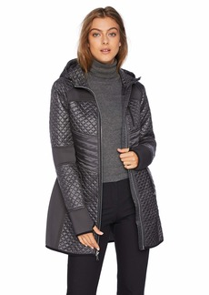 London Fog Women's Zip Front Thigh Length Quilt and Knit Coat with Hood  M